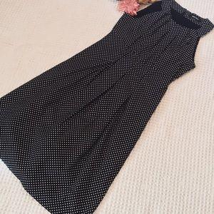 Nine West Black/White Polka Dot ALine Dress SZ 4